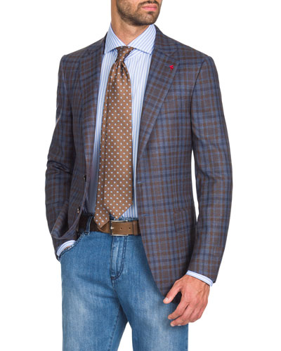 Men's Two-Tone Check Two-Button Jacket, Blue/Brown