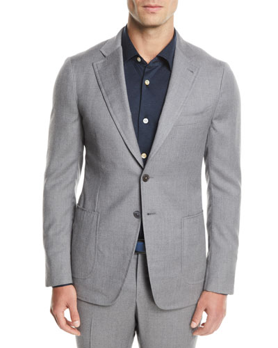 Men's Solid Wool-Stretch Two-Piece Suit