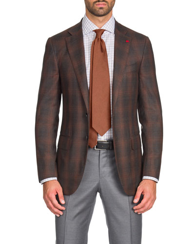 Men's Two-Tone Plaid Super 140s Wool Two-Button Jacket