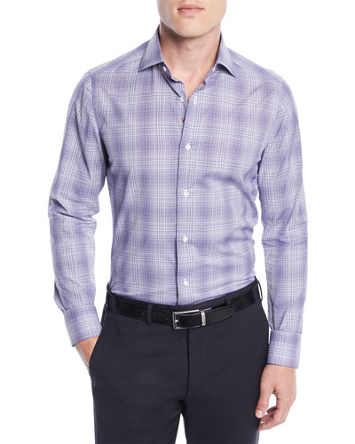 Men's Graph Plaid Cotton Dress Shirt