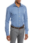 Kiton Men's Mulri Check Long-Sleeve Sport Shirt