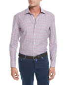 Kiton Men's Check Cotton Sport Shirt
