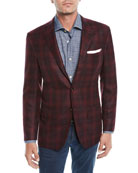 Kiton Men's Plaid Cashmere 3-Button Sport Coat Jacket