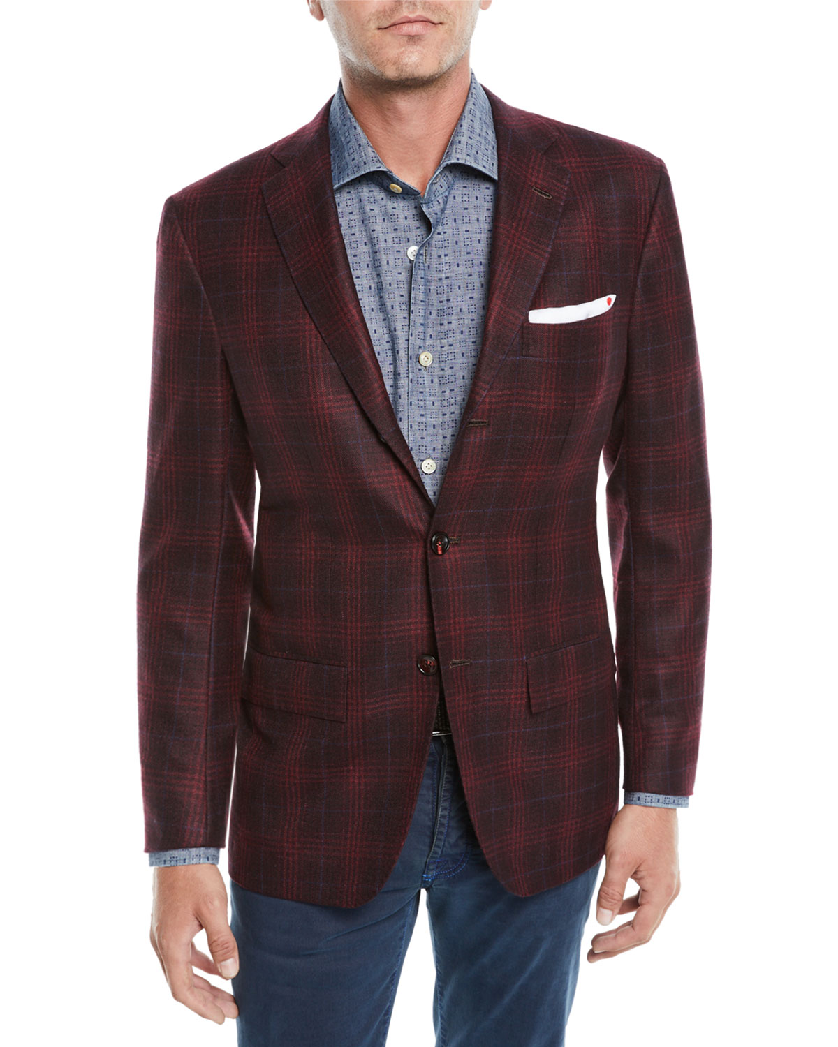 Men's Plaid Cashmere 3-Button Sport Coat Jacket