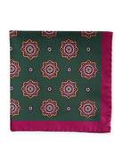 Kiton Large Medallion Silk Pocket Square