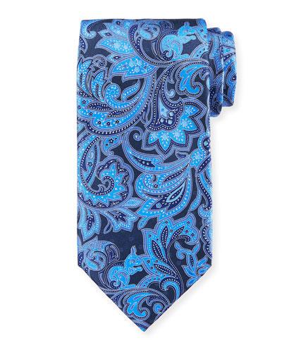 Large Paisley Silk Tie, Blue