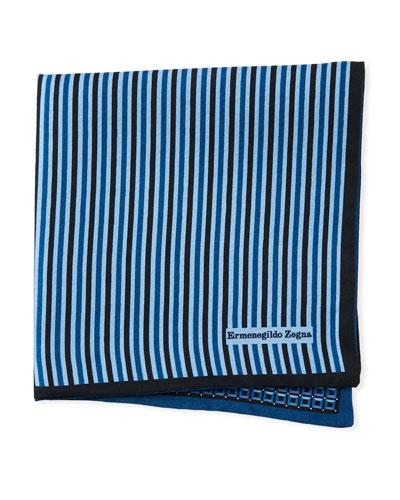 Reversible 3D Box Silk Pocket Square, Blue