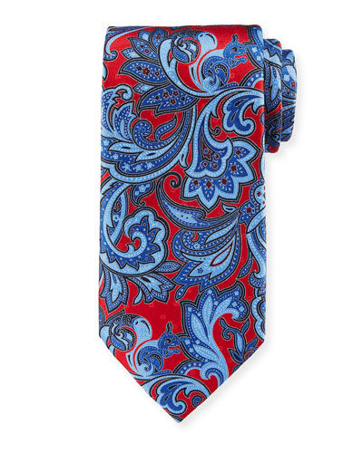 Large Paisley Silk Tie, Red/Blue