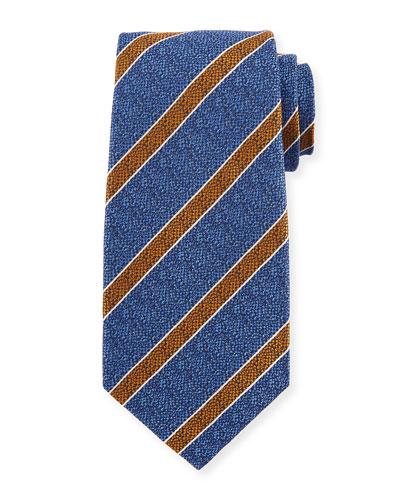 Textured Medium Stripe Silk Tie, Blue