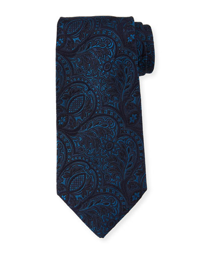 Tonal Paisley Silk Tie, Blue