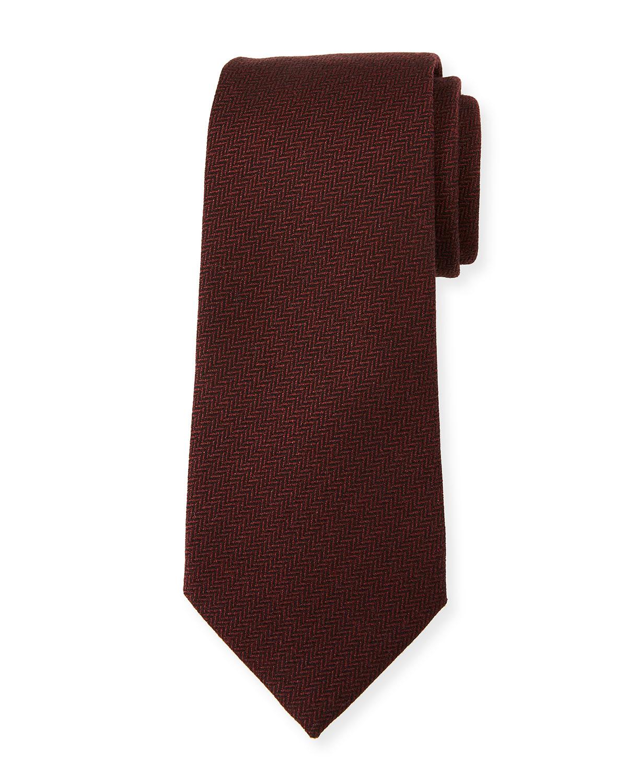 Herringbone Silk Tie, Red