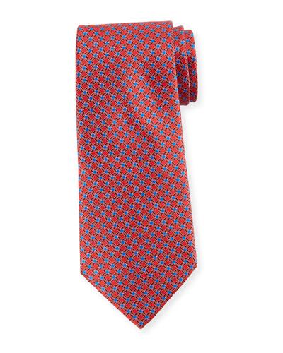 Printed Lattice Silk Tie, Red