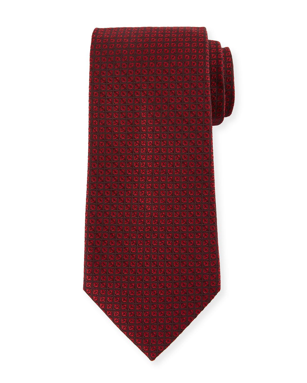 Tonal Ovals Silk Tie, Red
