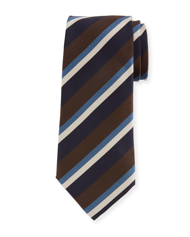 Four-Color Stripe Silk Tie, Brown