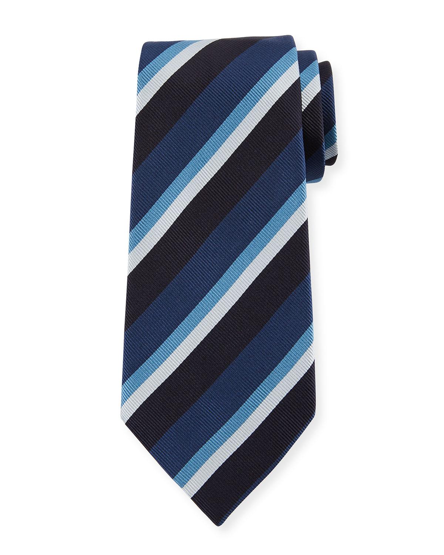 Four-Color Stripe Silk Tie, Blue
