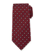 Ermenegildo Zegna Box-On-Jacquard Silk Tie, Red