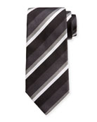 Ermenegildo Zegna Four-Color Stripe Silk Tie, Black