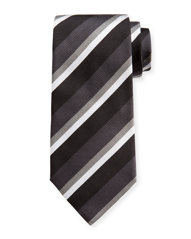 Four-Color Stripe Silk Tie, Black