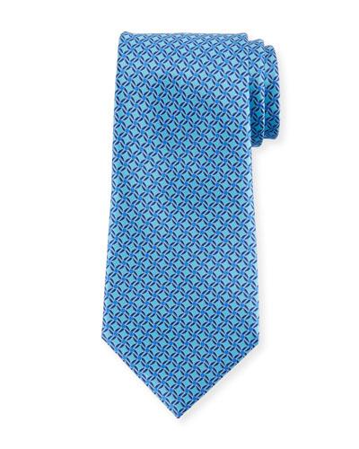 Printed Lattice Silk Tie, Blue