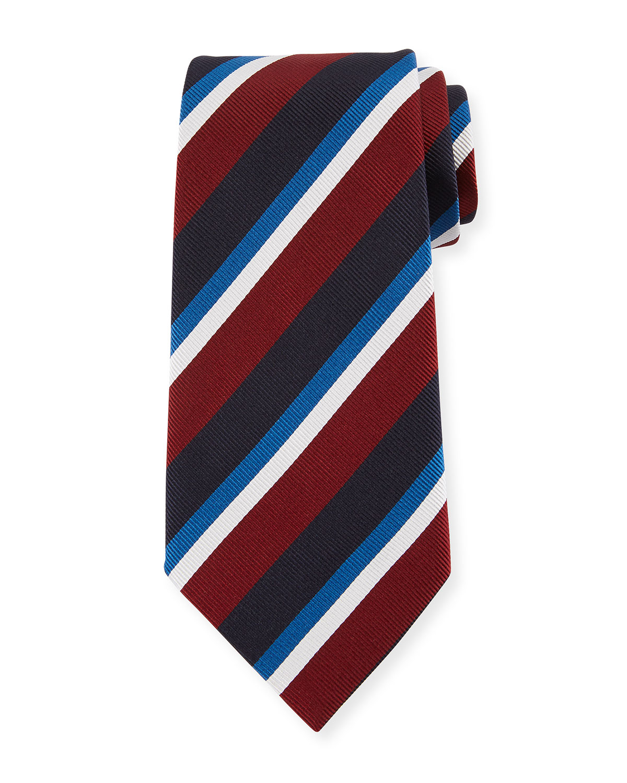 Four-Color Stripe Silk Tie, Red