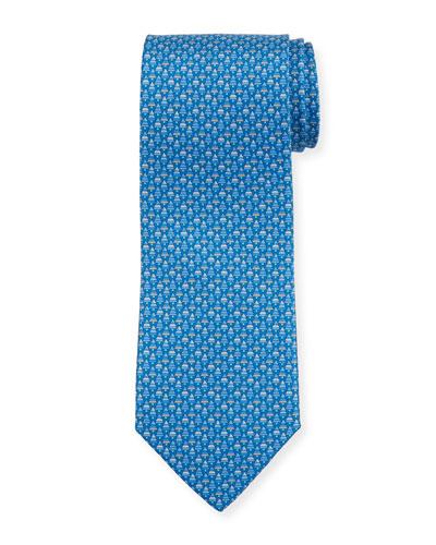 Foglia Fir Tree Printed Silk Tie, Blue