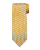 Salvatore Ferragamo Faggio Leaf Printed Silk Tie, Yellow