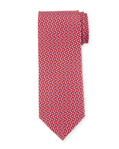 Faggio Leaf Printed Silk Tie, Red