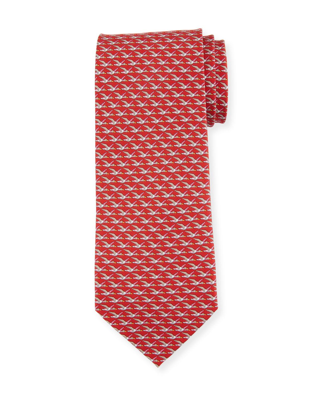 Ducks Printed Silk Tie, Red