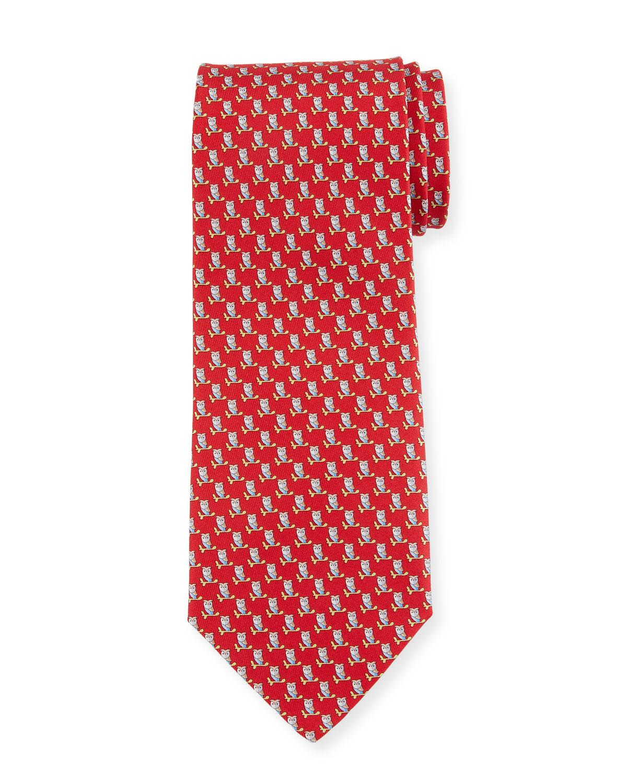 Fufo Owl Printed Silk Tie, Red