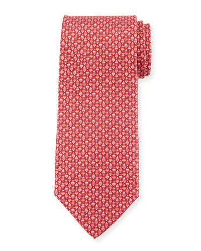 Foglia Fir Tree Printed Silk Tie, Red