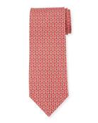 Salvatore Ferragamo Fortuna Linked Gancini Silk Tie, Red