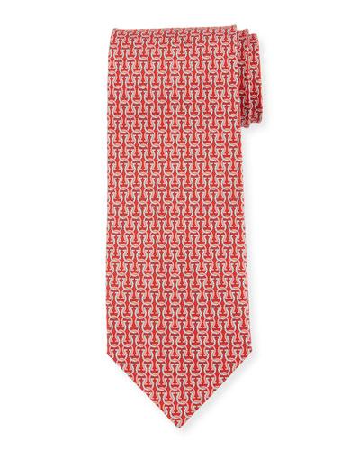 Fortuna Linked Gancini Silk Tie, Red