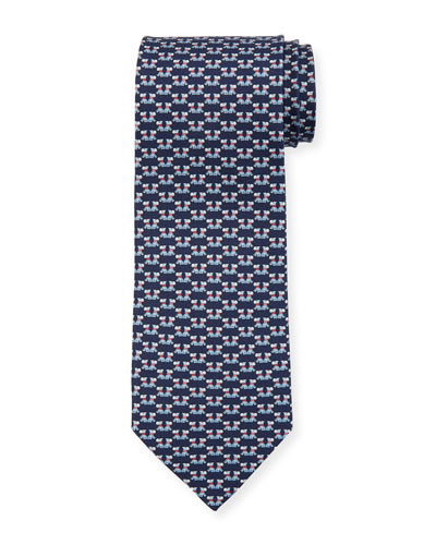 Fido Dogs Printed Silk Tie, Blue