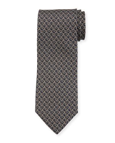 Fiocco Gancini Printed Silk Tie, Black