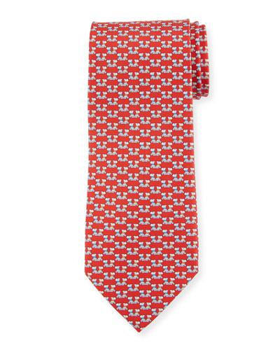 Fido Dogs Printed Silk Tie, Red