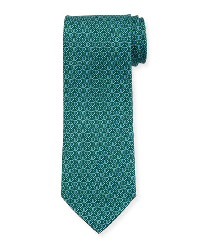 Fiocco Gancini Printed Silk Tie, Green