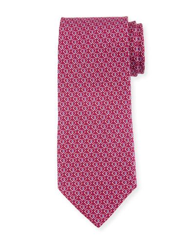 Fiocco Gancini Printed Silk Tie, Pink