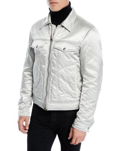 Men's Quilted Satin Western Jacket