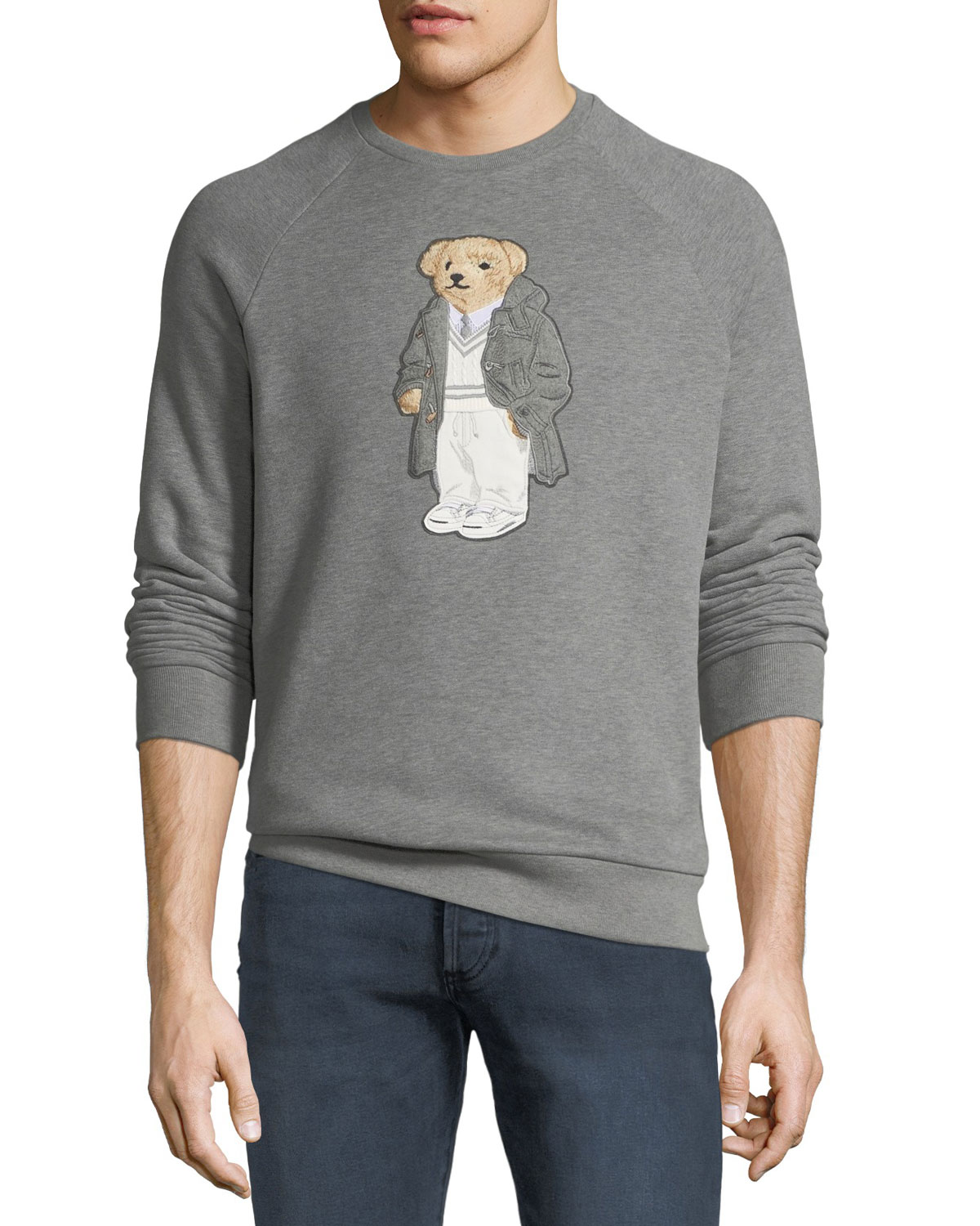 Men's Bear-Applique Crewneck Raglan Fleece Sweatshirt