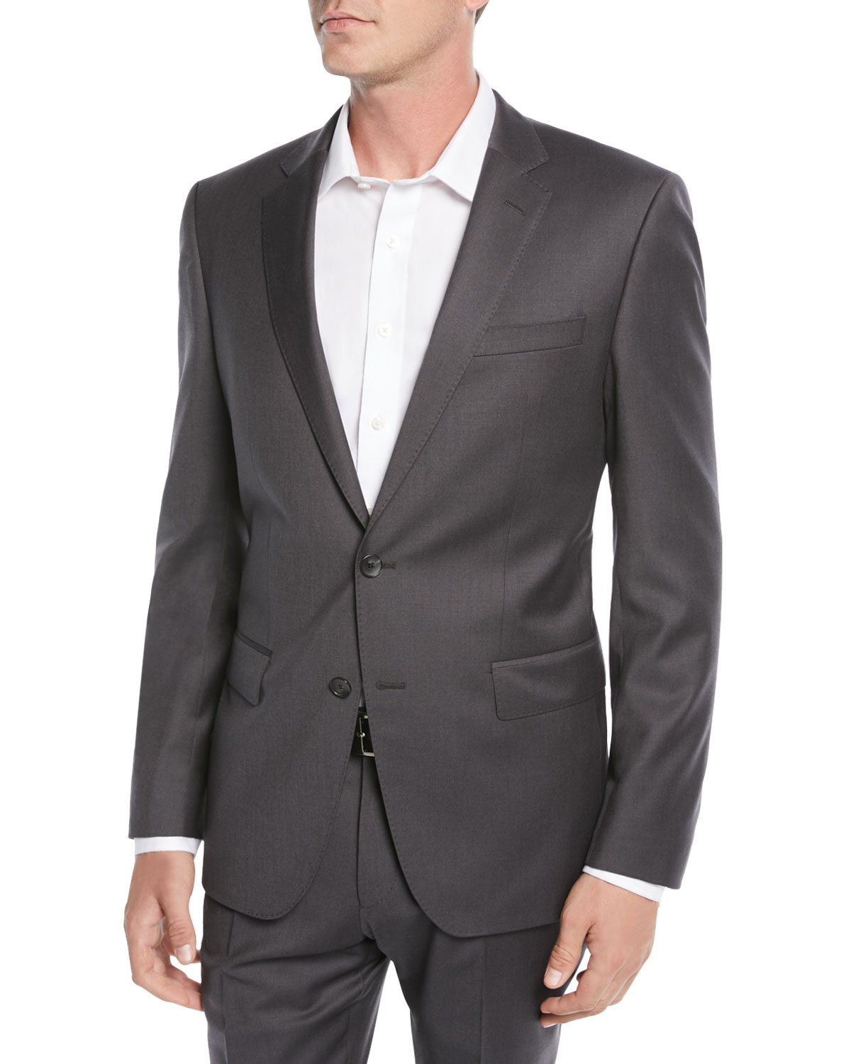 Men's Stretch-Wool Basic Two-Piece Suit