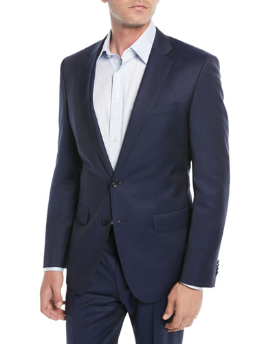 Men's Wool Basic Two-Piece Suit, Blue
