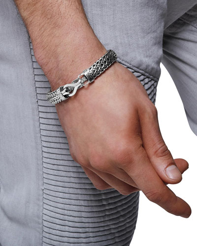 Men's 11mm Classic Chain Flat-Link Silver Bracelet w/ Pusher Clasp