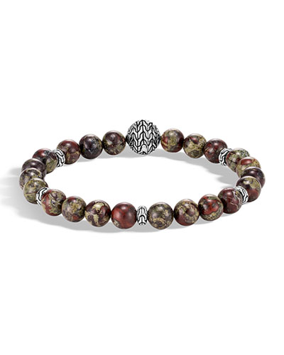 Men's Classic Chain Bead Bracelet w/ Jasper
