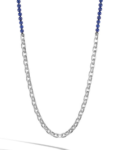 Men's Classic Chain Link Necklace w/ Lapis Beads, 28
