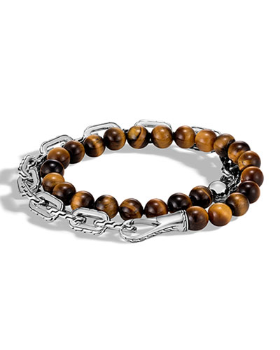 Men's Classic Chain Wrap Bracelet w/ Tiger's Eye
