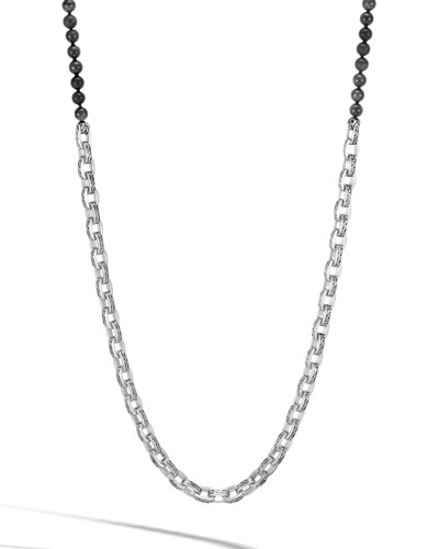 Men's Classic Chain Link Necklace w/ Onyx Beads, 28