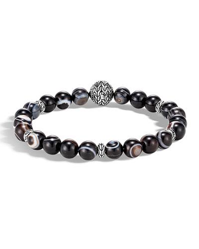 Men's Classic Chain Silver Bead Bracelet w/ Agate