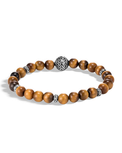 Men's Classic Chain Bead Bracelet w/ Tiger's Eye