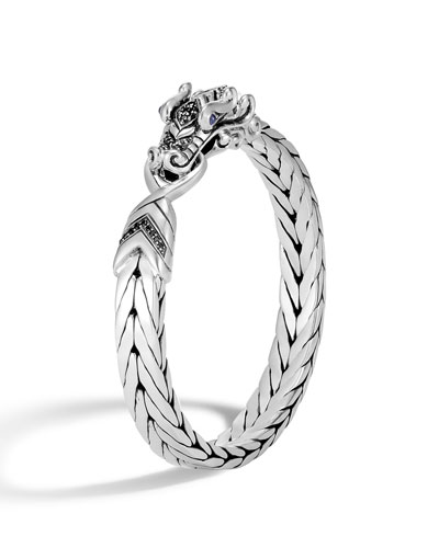 Men's Legends Naga Silver Medium Bracelet w/ Black Sapphire Pave