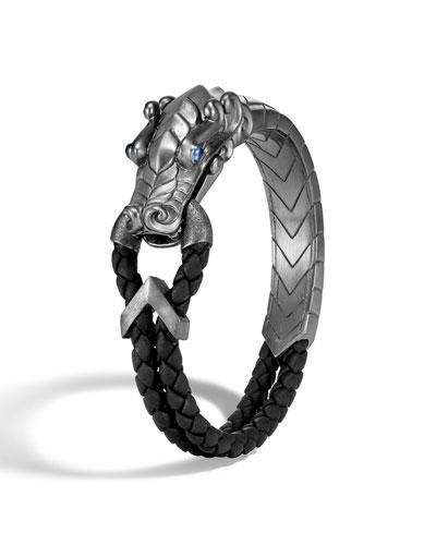 Men's Legends Naga Silver Bracelet w/ Leather